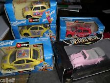 (5) LOT 1/43 BBURAGO VW VOLKSWAGEN DISNEY MICKEY MOUSE GOOFY + PINK BUG BEETLE +