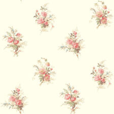 York Wallcovering Floral Rose Pink Green Tan Cream Designer Flower Wallpaper Diy