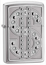 "Zippo ""Bling-Dollar $"" Emblem Lighter, Swarovski Crystals,**Flints/ Wick** 20904"