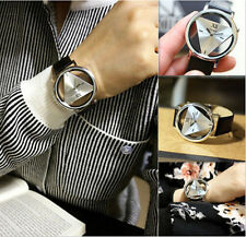 Women Mens Leather Band Stainless Steel Sport Analog Quartz Wrist Watch silver