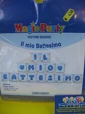 festone IL MIO BATTESIMO  lunghezza 3,9 mt. h.20x17 cm.celeste per feste e party