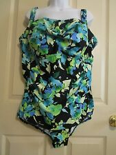 Women's Beach Belle One Piece Slimming Swimsuit. Size 24W. Green Floral