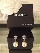 BNIB Authentic Chanel Classic Silver Crystal Mini CC Pearl Drop Dangle Earrings