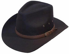 Mens Gents Black 100% Cotton Cowboy Stetson Style Hat 58CM M New