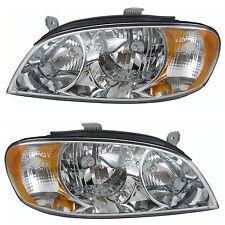 Headlights Headlamps Pair Set For 02-04 Kia Spectra Sedan New