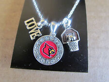 LOUISVILLE CARDINALS LOVE BASKETBALL CHARM LOGO Necklace Rhinestone Jewelry  New