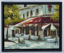 European Cafe Bistro Street Restaurant OIL on CANVAS Framed Painting 22 x 18