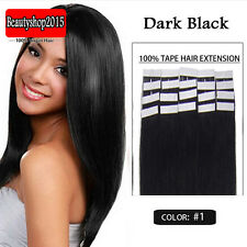 "Free Shipping 100% Real Tape In Real Human Hair Extensions 16"" 20Pcs Dark Black"