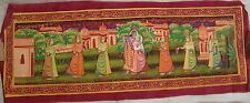 VINTAGE HANDMADE WATER COLOR PAINTING OF LORD KRISHNA WITH RADHA ON SILK CLOTH