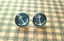 Navy Blue And White Anchor Cabochon Stud Earrings,Earring Post