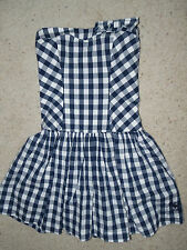 Abercrombie Kids Navy White check strapless lined boned dress Size Large GIrls