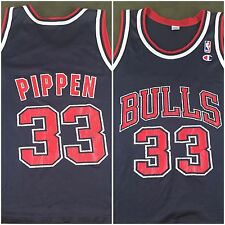 True Vintage 90s Scottie Pippen Chicago Bulls NBA Basketball Black Jersey Sz 44