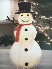 "72"" Fluffy Top Hat Lighted Snowman Sculpture Outdoor Christmas Decor"