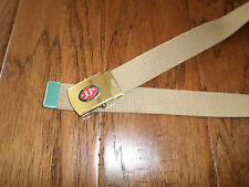 US MILITARY STYLE KHAKI WEB BELT WITH BIERE 33 EXPORT BRASS BUCKLE