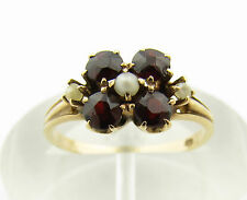 Antique Victorian Yellow Gold Garnet & Seed Pearl Ring Size 5.75