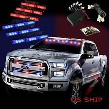 54 LED Car Truck Strobe Emergency Warning Light for Deck Dash Grill Blue Red
