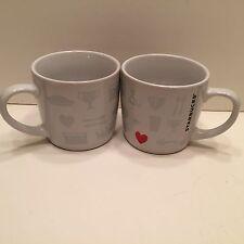 Pair Starbucks Things I Love Coffee Mug White Red Heart Cup Espresso Tea 7.8 oz