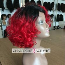 Best Curly Wig Ombre Red Short Bob Synthetic Hair Machine Made Wig Heat Safe UK