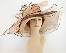 New Woman Church Derby Wedding Sinamay 3 Layers Dress Hat 3534 Black / Champagne
