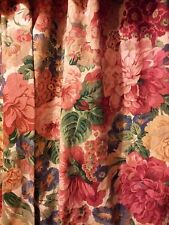 VINTAGE FLORAL SHABBY CHIC COUNTRY COTTAGE LINED CURTAINS FABRIC 3 Prs Available