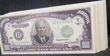 WHOLESALE LOT of 100 $10000 DOLLAR BILL NOVELTY MONEY USA FAKE DWIGHT EISENHOWER