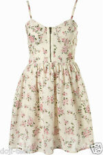 BNWT Topshop Cream Floral Pink Rose Lace Corset Vtg Summer Sun Tea Dress 12 40 M
