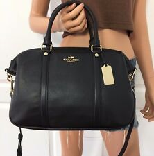 NWT COACH BLACK SATCHEL PEBBLED LEATHER SHOULDER CROSSBODY HANDBAG BAG PURSE