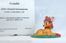 2001 Grolier Bambi Annual Disney Ornament Porcelain Dated Christmas Scholastic