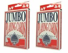 Jumbo Playing Cards, 5 x 3.5 Inch, Giant Size and Print 2 Deck Pack New