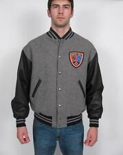 ROOTS CANADA GOLF CUSTOM MADE MANS GREY MELTON WOOL BLACK LEATHER JACKET COAT~L