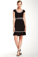 Betsey Johnson Black Cap Sleeve Waisted Dress Sz 4, NEW WITH TAGS $138