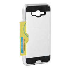 For Samsung Galaxy J7 2015 HYBRID CREDIT CARD ID SLOT HOLDER CASE SILVER BRUSHED