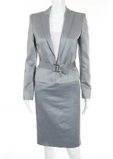 Valentino Light Blue Wool Belted Collared V Neck Blazer Pencil Skirt Suit Size 4