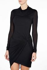 HELMUT LANG Slack Jersey Long Sleeve Twist Dress in Black Size Petite P / XS