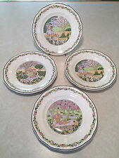 "Vintage Set of 4 GIEN ""TROIS SAISONS"" Salad Dessert Cake Cabinet Display Plates"