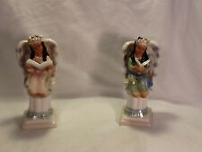Vintage Ceramic Hand Painted Angels on a Pedestal  Figurine