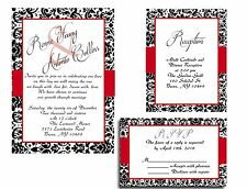 25 Red and Black Damask Wedding invitations RSVP and Reception cards
