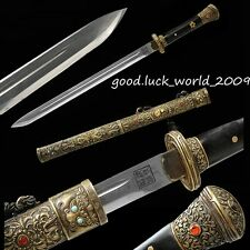 High Quality Chinese Tibet Sword Sword Pattern Steel Copper Sheath Sharp Blade