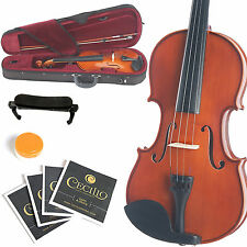 MENDINI SIZE 1/4 VIOLIN SOLIDWOOD NATURAL VARNISH +TUNER+SHOULDERREST 1/4MV200
