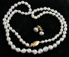 Estate Vintage Lovely 14k Gold Dove Gray Fresh Water Pearl Necklace Earrings Set