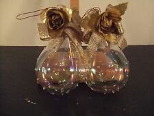 2 VINTAGE HOBNAIL MOUTH BLOWN/CRAFTED IRIDESCENT PEAR SHAPE CHRISTMAS ORNAMENTS