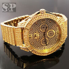 New Men's Iced Out Bling Hip Hop Rapper Techno King 14K Gold Pt CZ Luxury Watch