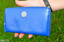 New Tory Burch Dena Ocean Blue Continental Zip Around Wallet Clutch 38149217