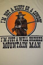 vtg 80s Mountain Man t shirt Large/XL MADE IN USA 50/50 Hippy Cowboy #2152