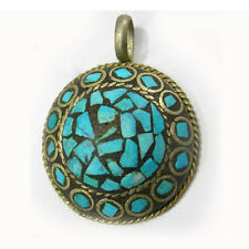 Vintage Big Thick Tibetan Copper Brass Turquoise Gemstone Inlays Amulet Pendant