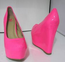 "NEON  PINK  6"" WEDGE heel 2"" platform round toe sexy shoes  SIZE  9"