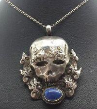 """Vintage Fine Blue Lapis Skull Sterling Silver 925 Pendant Necklace 9g 20"""" N6034"""