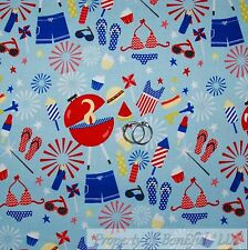 BonEful Fabric FQ Cotton Quilt Blue Red White America*n Flag Birthday Girl Boy L