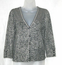 NEXT (UK10 / EU38) BLACK/OFF-WHITE ANIMAL PRINT CARDIGAN WITH LAMBSOOL/ANGORA