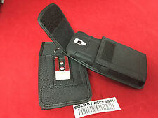 BLACK NYLON CASE HOLSTER BELT CLIP POUCH FOR HTC ONE M9 M8 EXTENDED BATTERY CASE